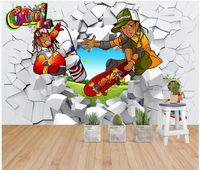 ingrosso personaggi dei cartoni animati freddi-WDBH 3d wallpaper foto personalizzata Cartoon cool character rotto wall tooling living room home decor 3d murales wallpaper per pareti 3 d