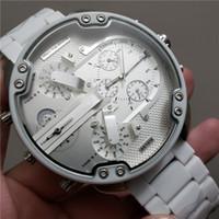 ingrosso coperchio cinturino rosso-Hot Fashion Brand Mens Watch 3A-qualità DADDY quadrante grande rosso o bianco copertura plastica cinturino in metallo cronografo da polso al quarzo