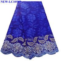 nigerianische baumwollspitze großhandel-Königsblau Afrikanische Baumwollspitze mit Steinen Hochwertige Schweizer Voilespitze Stickerei Nigerianische Spitze Stoff für Hochzeitskleid GSX04