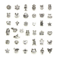 Wholesale Mixed Set Tibet Silver Charms Macroporous Beads Pendants Retro Style Jewelry DIY Pendant For Bracelet Necklace