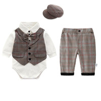 Wholesale newborn baby girl clothing sets for sale - Group buy newborn outfits newborn baby boy clothes baby suits boys clothing sets romper suspender shorts baby infant boy designer clothes A5740