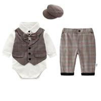 roupa de suspensórios de bebê venda por atacado-Roupas recém-nascidos bebê recém-nascido menino roupas de bebê ternos meninos conjuntos de roupas romper + suspender shorts do bebê infantil roupas de grife menino A5740