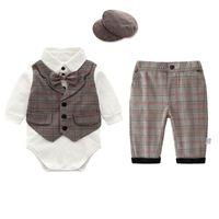 bebek şort jartiyer toptan satış-Yenidoğan kıyafetler yenidoğan erkek bebek giysileri bebek takım elbise erkek giyim setleri romper + askı şort bebek bebek erkek giysi tasarımcısı A5740