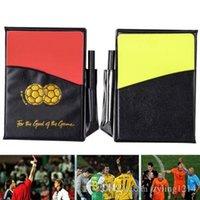 fußball-brieftaschen großhandel-Fußball-Fußball-Sport-Referent 2019 2020 kardiert gelbes rotes Bleistift-Geldbörsen-Notizbuch-Set