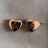 aretes de marca corazón al por mayor-Top brand 316L acero inoxidable stee 3D corazón anillo de oreja joyería de moda brillante 3 color oro rosa plata pendientes para hombres mujeres niños niñas regalo