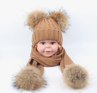 Wholesale baby hat scarf pink for sale - Group buy Baby Kids Double Real Fur Pompom Ball Knitted Beanie Hats Scarf Set Scarves For Children Boys Girls Winter warm suit