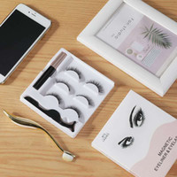 Wholesale magnetic eyelashes resale online - Hot Magnetic Liquid Eyeliner Magnetic False Eyelashes Tweezer Set Magnet False Eyelashes Set Glue Make Up Tools sets drop shipping