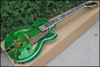 Wholesale factory direct guitar sales for sale - Group buy Factory custom direct sales of new beautiful jazz hollow body electric guitar green with flower vine inlay color guitar ice tripod custom