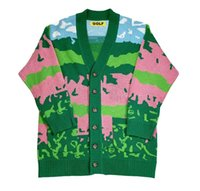 Wholesale stitch golf for sale - Group buy New luxury men golf Flower Le Fleur Tyler The Creator landscape Casual Sweaters Cardigan Asian Plug Size High Drake XSQ