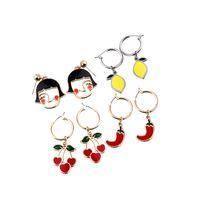 limon damlası toptan satış-Kiss me sevimli dört tipi renkli emaye küçük kız yüz lemon cherry chili bırak küpe kadınlar için hediyeler 2019 moda aksesuar