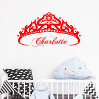 Wholesale babies girls names resale online - Pretty Princess Crown Wall Sticker Custom Girl Name Vinyl Art Personalized Nursery Decals Baby Kids Bedroom Art Decorative