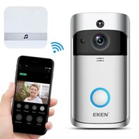 puertas de seguridad para el hogar al por mayor-EKEN Timbre de video inalámbrico inteligente 2 Video en tiempo real 720P HD Cámara wifi Audio bidireccional Visión nocturna Aplicación Control V2 Wi-Fi Habilitado Timbre de la puerta