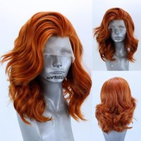 ingrosso parrucche corte rosse del merletto-Nuova parrucca anteriore del merletto di colore rosso / auburn di colore dell'oncia del corpo delle parrucche sintetiche del pizzo di colore arancione per le donne con la parte libera