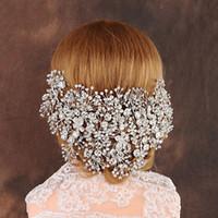 diademas de lujo hechas a mano al por mayor-Lujo claro cristal nupcial tiara hecho a mano de la boda del pelo de la joyería accesorios de la venda del casco mujeres coronas Pageant J190701