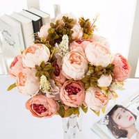 Wholesale vintage display head for sale - Group buy 13 Heads Bouquet Peony Decor Artificial Flower Home Decor Vintage Artificial Peony Silk Flowers Bouquet Wedding Decoration