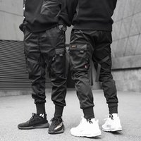 siyah hip hop harem pantolon toptan satış-Erkekler Kurdela Renk Blok Siyah Cep Kargo Pantolon 2019 moda Harem Joggers Sweatpant Hip Hop Pantolon