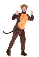 disfraz de mono de halloween de lujo adulto al por mayor-Adulto Zoo Monkey Animal Onsies, todo en uno Disfraces de disfraces de Halloween Unisex para hombre y para mujer S1916 MLXL