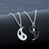 yin yang liebhaber anhänger großhandel-Beste Freunde Nähen Halsketten für Liebhaber Charm Anhänger Halskette Colar Masculino Taiji Klatsch Yin Yang Anhänger Paar Halskette