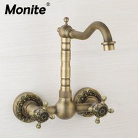 Wholesale brass wall mounted tap for sale - Group buy Monite Rotated Antique Brass Bathroom Basin Sink Mix Tap Dual Handles Bathtub Wall Mounted Kitchen Basin Sink Mixer Faucet