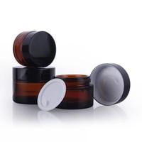 Wholesale cosmetic glasses black for sale - Group buy Brown Amber Glass Cream Jar Black Lid g Cosmetic Jar Packaging Sample Eye Cream