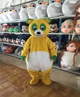 desenhos animados da panda do natal venda por atacado-Halloween Amarelo Urso Panda Mascot Costume Top Quality Animal Dos Desenhos Animados Anime personagem tema Carnaval Festa de Natal Trajes Extravagantes