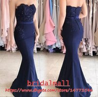 ingrosso pulsanti di raso blu-Blu Navy Blue Appliques di perline Satin Long Bridesmaids Dresses 2019 Sweetheart formale Maid of Honor Gowns Buttons Back Wedding Guests Party Dress