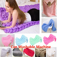 couverture en tricot épais achat en gros de-Washable Machine Chunky Knit Blanket Warm Soft Handmade Kniting Throw For Bedroom Sofa Decor Blanket For Chenille Bulky Xmas HH9-2359