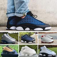 9128198a2 Nike Air Jordan 13 Retro Barato 2018 zapatos de alta calidad 13 XIII 13s hombres  zapatos mujeres Bred negro marrón blanco holograma pedernal gris tamaño5.5-  ...