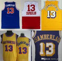 gelbe blaue basketball uniformen großhandel-NCAA Los # 13 Wilt Chamberlain Jerseys Hot Uniformen Rev 30 Neues Material Trikot Home Gelb Lila Weiß Blau