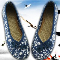 ingrosso tela ricamato scarpe cinesi-2019 Donne Vintage Flats Autunno Femminile Tela Ethnic Chinese Knot Slip On Loafers Casual Comfort Shoes Ladies Ricamato