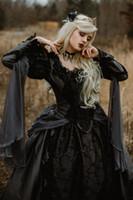 vestido de baile vestido de noiva prata venda por atacado-Vestido de baile medieval gótico vestidos de casamento de prata e preto renascimento fantasia vitorianos vitorianos manga longa vestido de noiva 2019