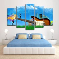 Wholesale art painting guitar for sale - Group buy Only Canvas No Frame Blue Sky and Grass Guitar Music Wall Art HD Print Canvas Painting Fashion Hanging Pictures for Bedroom Decor
