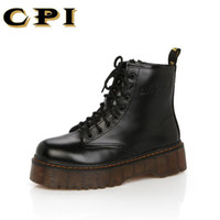 Wholesale high heeled oxford shoes resale online - CPI Botas Women Motorcycle Ankle Boots Wedges Female Lace Up Platforms Autumn Winter Leather Oxford Shoes Woman high heels AC