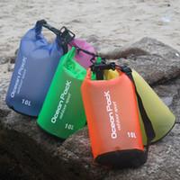 moda yüzme çantası toptan satış-Moda Plaj Çantası Su Geçirmez Kuru Çanta PVC Sürüklenen Su Geçirmez Sırt Çantası Yüzme Çanta Açık Kamp Yürüyüş Kamp Yüzen Çanta M239Y Için