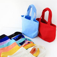 Wholesale lunch bags online - Portable Bento Lunch Box Picnic Storage Bag Canvas Cotton handbag Tote Pouch Cosmetic Makeup Bags LLA196