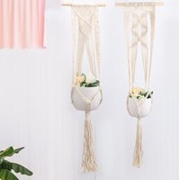 Wholesale stick basket for sale - Group buy Pure cotton rope with stick flowerpot net pocket Bohemian wind hand woven hanging basket multi color hanging rope