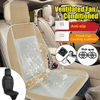 ingrosso auto in cuscino sedile in pelle bianca-12V Estivo elettrico Seggiolino auto Coprisedile Cuscino aria condizionata Ventola traspirante Cavo di raffreddamento