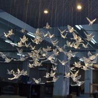 teto pendurado ornamentos venda por atacado-12 PC de Alta Qualidade Europeu pendurado Pássaro de Cristal Acrílico Hummingbird Teto Antena de Casamento Decoração de Palco Ornamentos