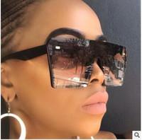 collège lunettes de soleil achat en gros de-Designer Oversize Carré Lunettes De Soleil Femmes De La Mode Plat Top Gradient Lunettes Hommes Gafas De Sol 8 couleurs 10 PCS usine Prix
