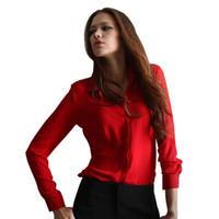 mais tamanho camisa formal da mulher venda por atacado-Blusas Femininas 2017 Mulheres Camisa Chiffon Tops Senhoras Elegantes Blusa Escritório Formal 5 Cores Desgaste do Trabalho Plus Size