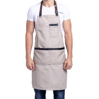Wholesale work aprons men resale online - simple Antifouling canvas kitchen apron for woman man coffee shop chef work apron bib pinafore Tablier