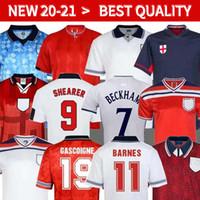 Wholesale england football soccer jersey for sale - Group buy England Retro SOCCER JERSEY World cup Jersey SHEARER BECKHAM football shirt Gerrard Scholes Owen HESKEY