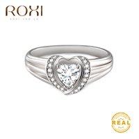 ingrosso donne anello roxi-ROXI 2019 New Fashion Crystal a forma di cuore Anelli di nozze per donna Argento Dainty Anelli di fidanzamento Strass Anello con zirconi cubici