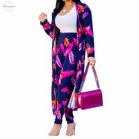 Wholesale knit cardigan outfits resale online - Piece Two Sets Sexy Casual Printed Piece Set Women Clothes Long Cardigan Tops Pants Outfits Autumn Winter Suits