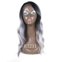 Wholesale wig 1b 99j resale online - Cheap Ombre Grey Natural Wave Hair Wigs Black B J High Quality Heat Resistant Synthetic Straight Lace Wigs