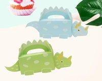 papéis de doces venda por atacado-Dinossauro Caixa de Doces Do Bebê Corte De Papel Animal Caixas De Presente Decoração Para Crianças Festa de Aniversário DIY Fontes Do Chuveiro Do Bebê