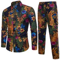 Wholesale white suit blue trouser for sale - Group buy Mens Floral Shirt Suit Long Sleeve Lapel Neck Single Breasted Shirts Lace Up Trousers Male Tracksuits