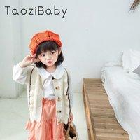beyaz hırka korece toptan satış-Çocuklar Kazak Hırka 2020 Çocuk Giyim İlkbahar Ve Yaz Yeni Kız Yün Yelek Süt Beyaz Koreli Düğme fırfır Triko