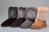 botas marrones para el invierno al por mayor-2018 recién llegado la mitad botas de nieve botas de piel de vaca piel medio limitada botas gris negro marrón granate nieve mujer mujer invierno thickecow muscl
