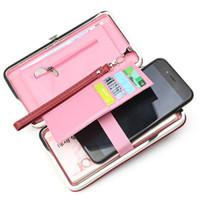 cep telefonları için cüzdanlar toptan satış-Marka Tasarımcısı Cep Telefonu Kutusu Kadın Cüzdan Büyük Kapasiteli Deri Bileklik Debriyaj Cüzdan Kadın Moda Bayanlar Uzun Çanta D170